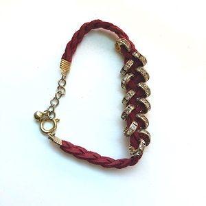 Red, studded boho bracelet